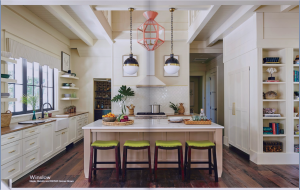 kitchen-cabinets-in- Roswell-ga-cream-kitchen-blush-island-lime-seat cushions
