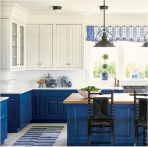 kitchen-design-in-roswell-ga-cobalt-blue-base-cabinets-ivory-top-cabinets-butcher-block-island