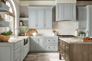 kitchen-remodel-in-Roswell-ga-kraftmaid-seafoam-blue-maple-cabinets-kitchen-island