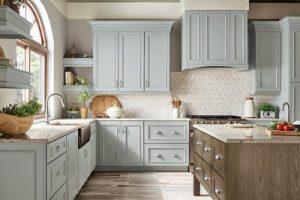 kitchen-remodel-in-Roswell-ga-kraftmaid-seafoam-blue-maple-cabinets-kitchen-island